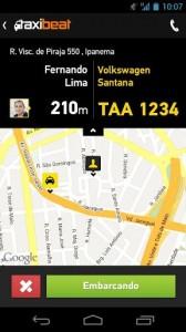 Apps de Táxi - Taxibeat - informações do taxista escolhido se aproximando