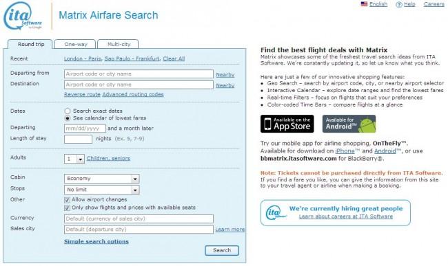 Como achar passagem barata - Matrix Airfair Search