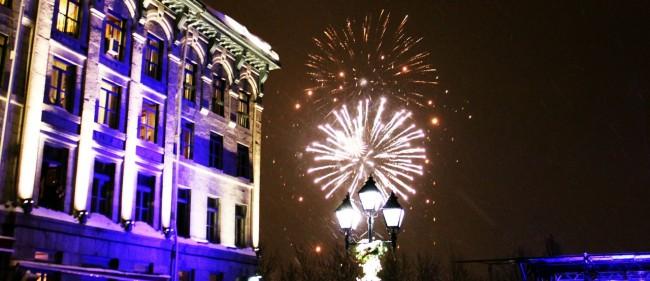 Natal e ano novo na neve de Montreal - Primeiros fogos de ano novo