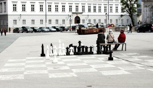 Roteiro de Salzburg - jogo de xadrez gigante