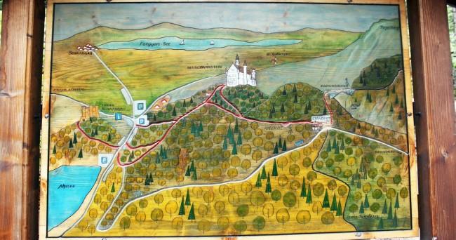 Castelos da Alemanha - mapa dos caminhos próximos ao castelo de Neuschwanstein
