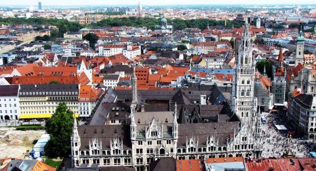 Centro histórico de Munique - Vista da Marienplatz a partir da Frauenkirche