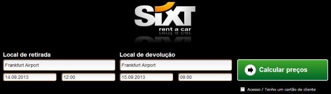 Como alugar carro na Alemanha - Sixt: Escolha as datas e o local