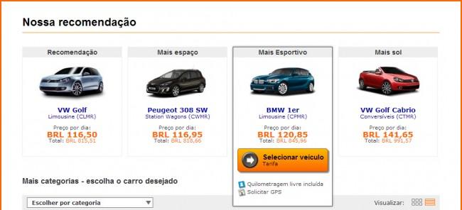 Como alugar carro na Alemanha - Sixt: Escolha o tipo de carro