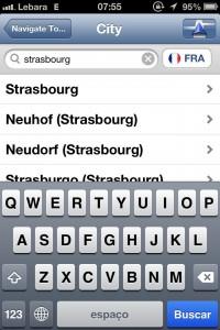 App de GPS TomTom - Escolhendo a cidade