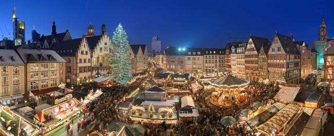 Centro histórico de Frankfurt - Feira de Natal no Römerberg