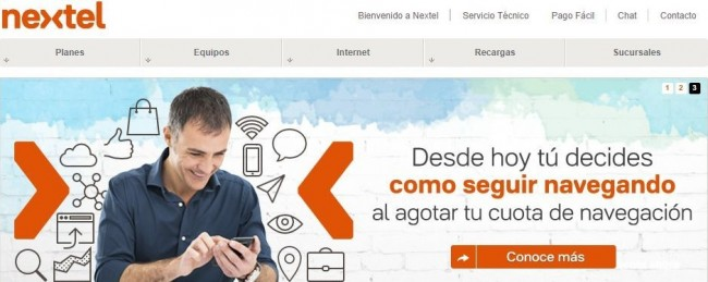 Como conseguir Internet 3G no Chile - Nextel site