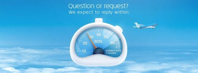 KLM nas redes sociais - tempo de espera no facebook