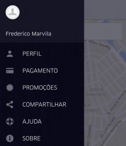 Como usar o Uber - menu