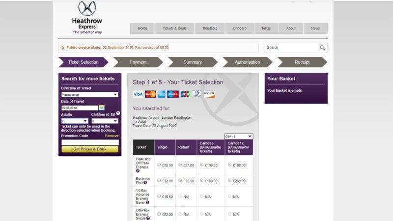 como comprar o Heathrow Express pela internet