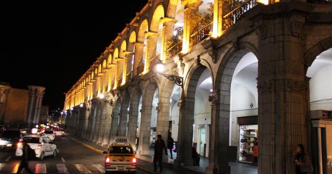 Onde ficar em Arequipa - Plaza de armas de noite