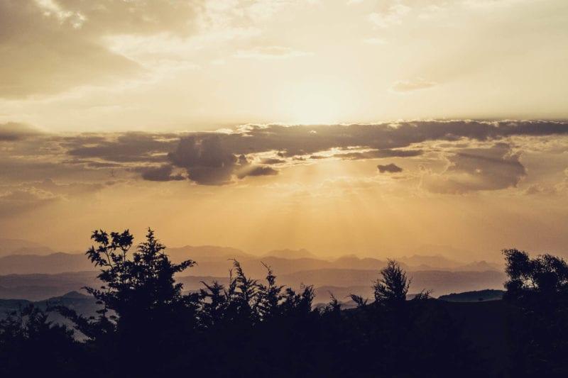 Por do sol em Lalibela, Etiópia
