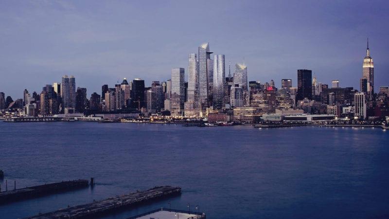 Novidades em Nova York: Evening View of Hudson Yards, from the Hudson River - courtesy of Related-Oxford